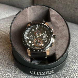 Citizen Eco-Drive Black Leather Watch, 43.1mm